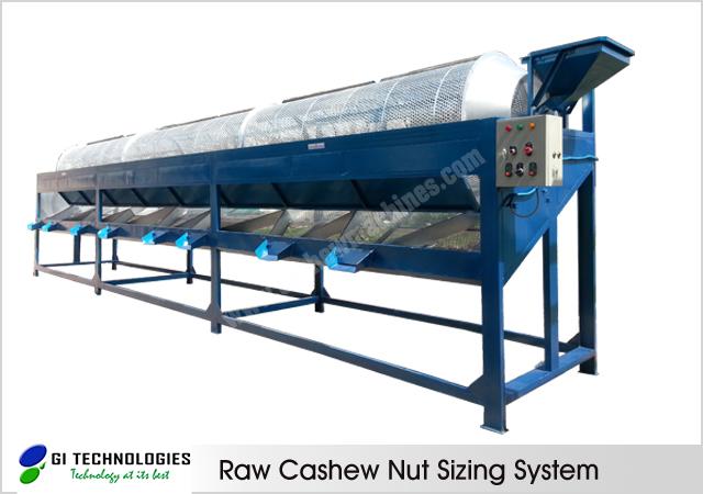 Raw Cashew Sizing Machine, Raw Cashew Nut Grading Machinery, Raw Cashew Cleaning and Calibration System from GI Technologies